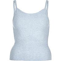 Light blue fluffy wool-blend cami top