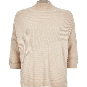 Beige textured ribbed high neck jumper