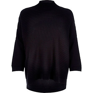 Black textured ribbed high neck jumper