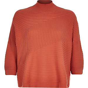Orange textured ribbed high neck jumper