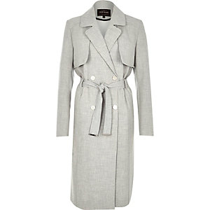 Light grey midi trench coat