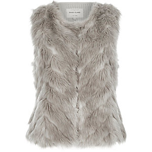 Grey faux-fur knitted back gilet