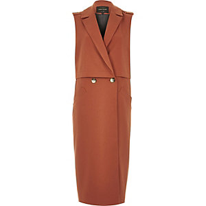 Brown structured sleeveless trench jacket