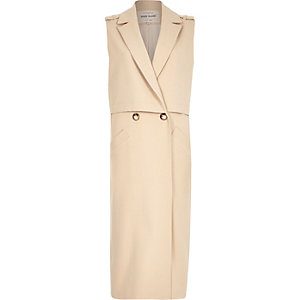 Beige structured sleeveless trench jacket