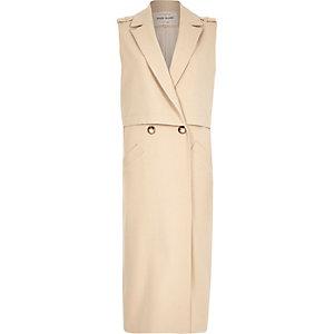 Beige structured sleeveless trench jacket