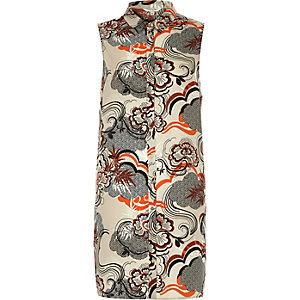 Orange print sleeveless shirt