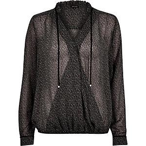 Black print wrap front blouse