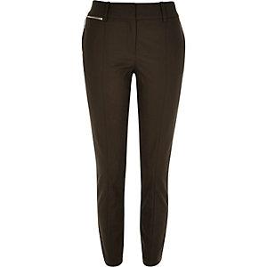 Khaki zip detail cigarette trousers