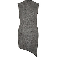 Grey sleeveless asymmetric knitted top