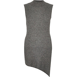 Grey sleeveless asymmetric top