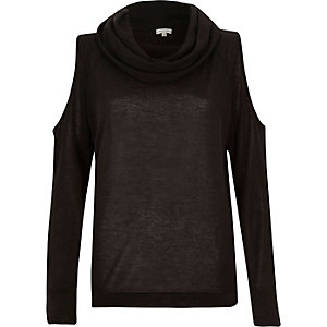 Black cowl neck cold shoulder jumper