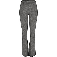 Grey ribbed flared trousers