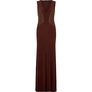 Brown studded V-neck maxi dress
