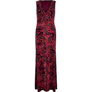 Red printed V-neck maxi dress