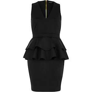 Black double peplum dress