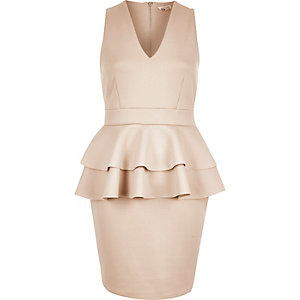 Light pink double peplum dress
