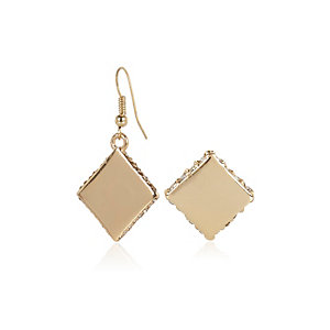 Gold tone square asymmetric earrings