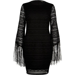 Black lace tassel sleeve bodycon dress