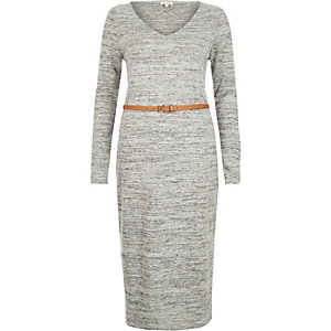 Grey marl V-neck belted midi dress