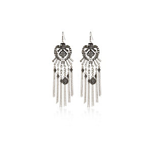 Silver tone boho dangle earrings