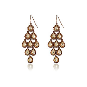 Gold tone teardrop dangle earrings