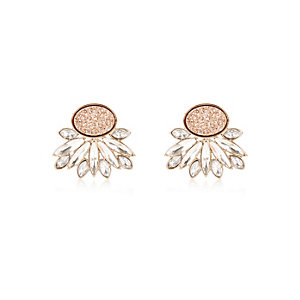 Gold tone glittery stud earrings