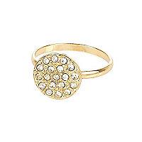 Gold tone round rhinestone ring