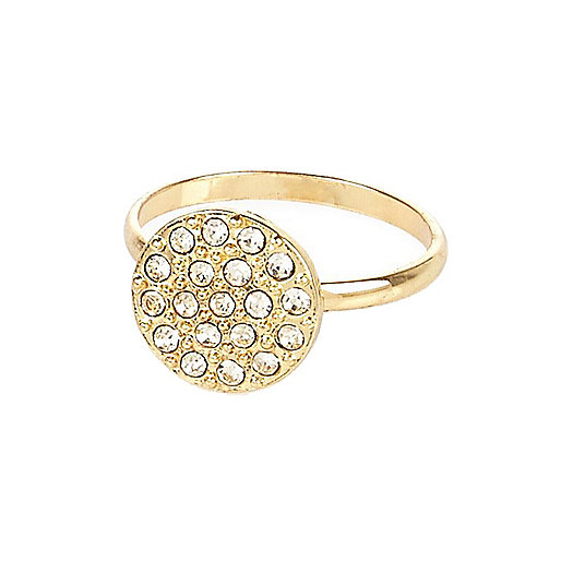 Gold tone round diamante ring