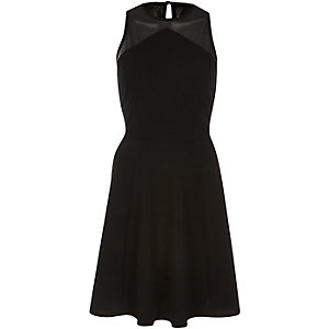 Black mesh panel sleeveless skater dress