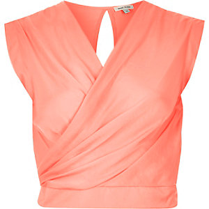 Coral sleeveless wrap crop top