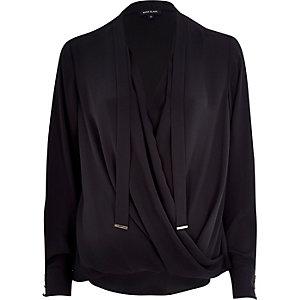 Black pussybow wrap blouse