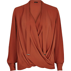 Rust orange pussybow wrap blouse