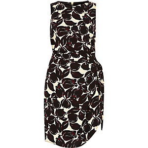 Pink print wrap side tie sleeveless dress