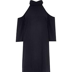 Navy cold shoulder swing dress