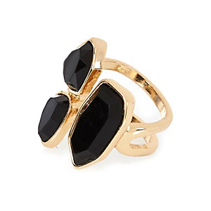 Gold tone black stone cocktail ring