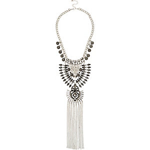 Silver tone ethnic tassel long necklace