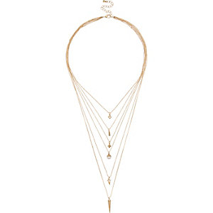 Gold tone multiple layer necklace