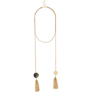 Gold tone rope tassel lariat necklace