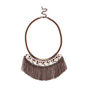 Bronze fringed tassel necklace