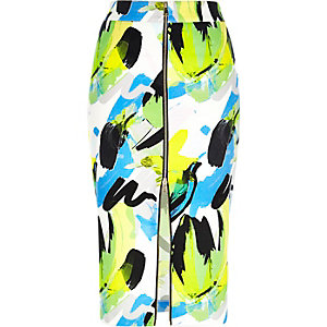 Green abstract print pencil skirt