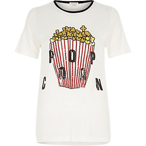 Cream popcorn sequin print fitted t-shirt