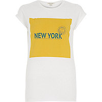 White New York stamp fitted t-shirt