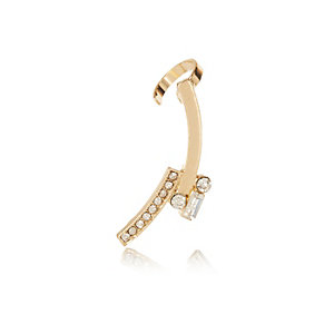 Gold tone crystal ear bar