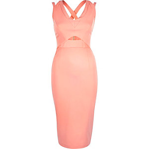 Pink cut out bodycon pencil dress