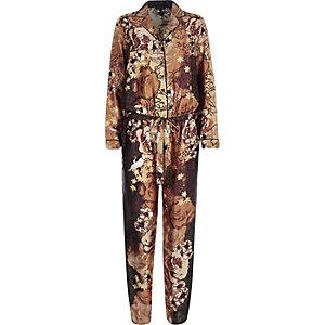 Brown printed pyjama jumpsuit