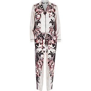 Beige printed pyjama jumpsuit
