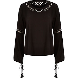 Black crepe lace insert top