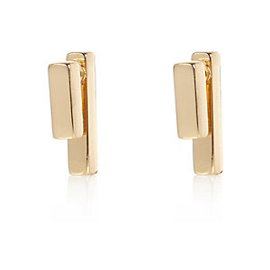 Gold tone bar front and back earrings