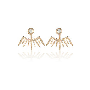 Gold tone spike front and back earrings