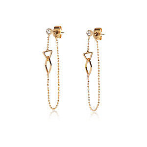 Gold tone interlinking front and back earring